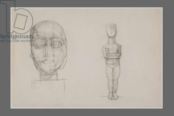 Drawing after the Head of Goudea and a Cycladic Idol (pencil on paper)