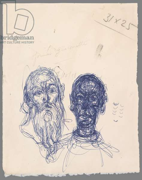 Head of a Bearded Man (copy) and Head of a Man, c.1958 (ballpoint pen on wove paper)