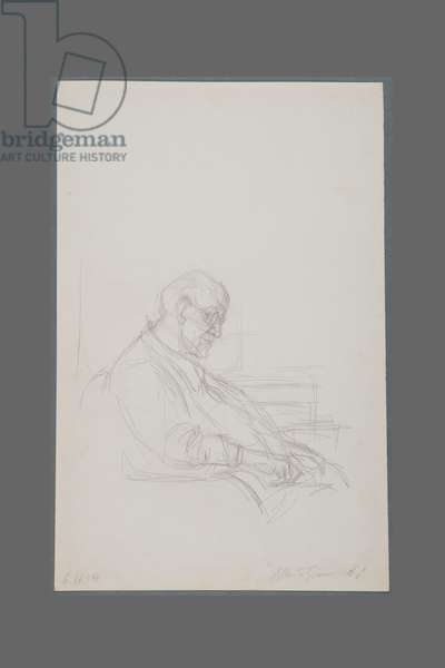 Henri Matisse seated in profile, 1954 (pencil on paper)