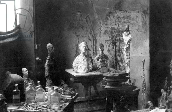 Bust of Yanaihara in the studio of Alberto Giacometti, Paris, 1960 (b/w photo)