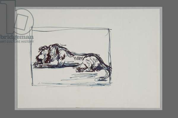 After Rembrandt's Drawing: 'Study for Lion at Rest' (pen & ink on paper)