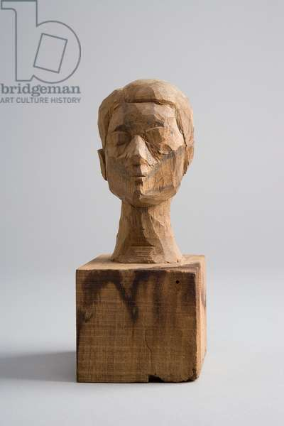 Head of Woman [Rita], c.1935 (wood enhanced with pencil) (see also 861082)