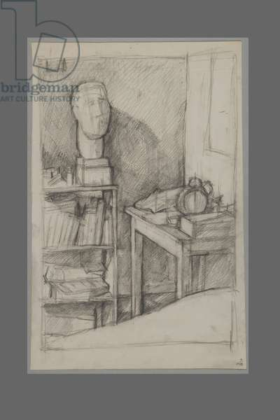 Corner of the studio with self portrait from 1925 in plaster, c.1927 (pencil on paper)