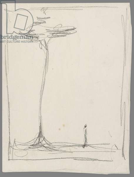 Man and Tree, 1952 (litho pencil on transfer paper)