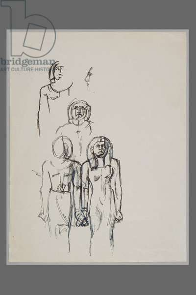 Tjenti and Timertef, after an Egyptian sculpture (ink on paper)