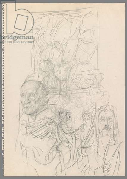After Durer: Portrait of Jakob Muffel; Nemesis; Self Portrait and Melancolia I (reversed) (pencil on paper)