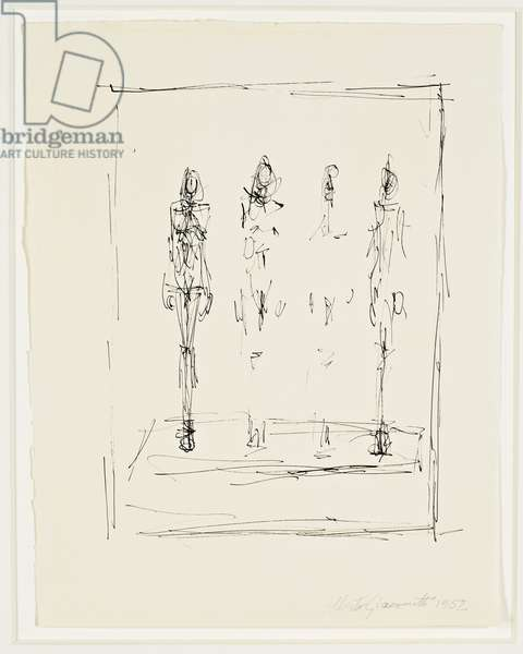 Four Figures on a Base, 1952 (pen & ink on paper)