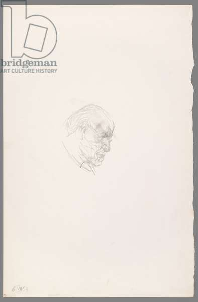 Head of Henri Matisse in Profile, 6 July 1954 (pencil on paper)