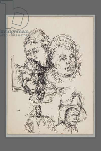 After Cézanne: Mrs. Cézanne; the Son of the Artist; Head of a Smoking Man; Pierrot, c.1959 (ballpoint pen on card)