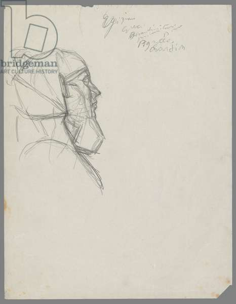Head of Chephren, after an Egyptian sculpture (pencil on paper)
