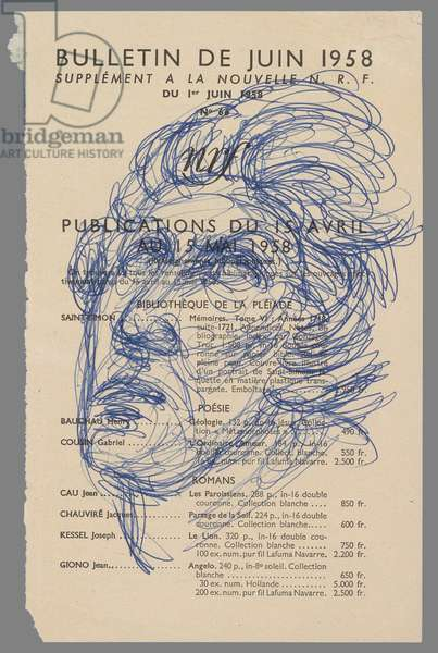 After Michelangelo: Head of 'The Dying Slave', c.1958 (ballpoint pen on page of review)
