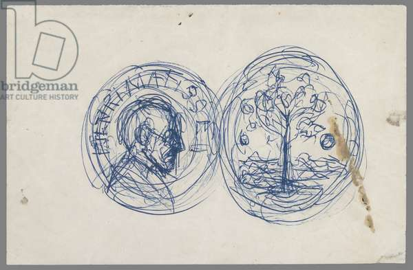 Project of a Medal for Henri Matisse, c.1955-56 (ballpoint pen on letter paper)