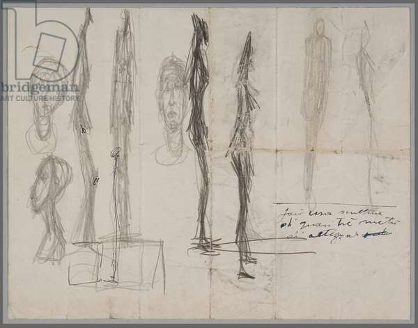 Sketches for a sculpture, 1947 (pencil on letter paper)