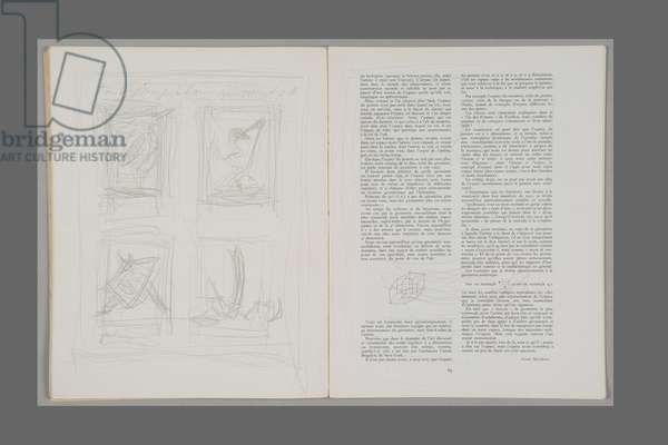 Mobile and Mute Objects, 1952 (pencil on printed paper)
