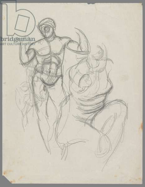 Diadumenos and Crouching Venus, after Greek sculptures (pencil on paper)