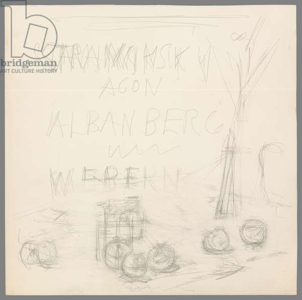 Seven Apples and a Bouquet, project for the sleeve of the record 'Agon' by Stravinsky, 1957 (pencil & eraser on paper)
