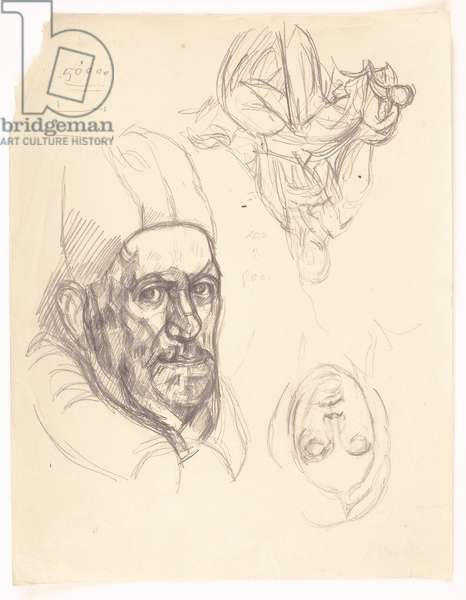 After Velázquez: Pope Innocent X, and other copies (pencil on paper)