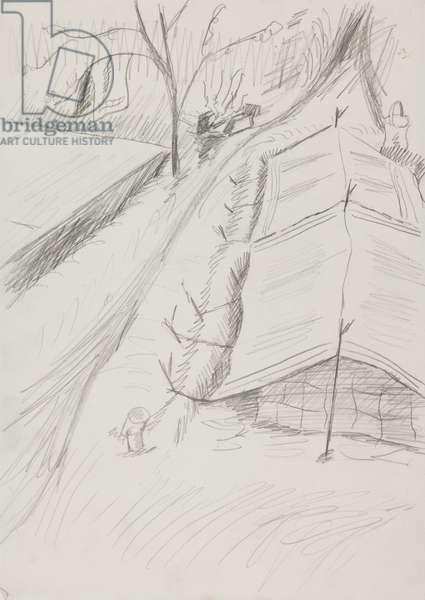 Camping on the March, 1945 (pencil on paper)