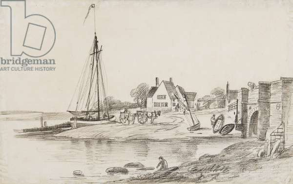 Bourne Bridge and Ostrich Creek off the river Orwell, with 'The Ostrich' pub (black chalk on paper)