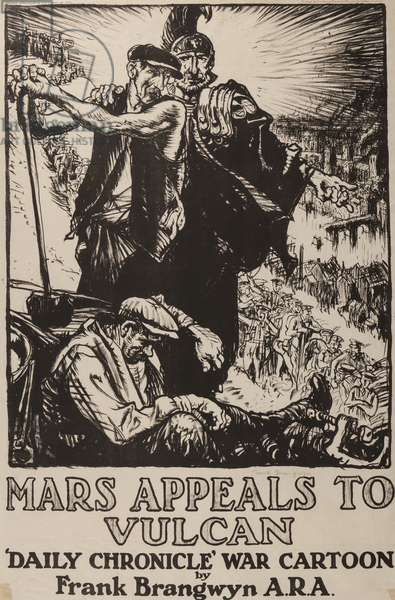 Mars appeals to Vulcan, printed by the Avenue Press for the Daily Chronicle, 1914-18 (litho)