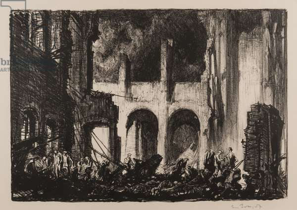 Church of St Martin's, Ypres, from The Ruins of War, 1919 (litho)