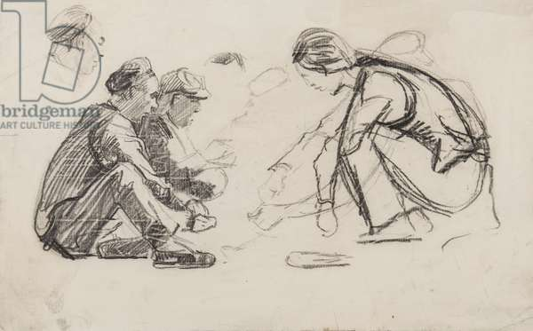 Seated figures (pencil on paper)