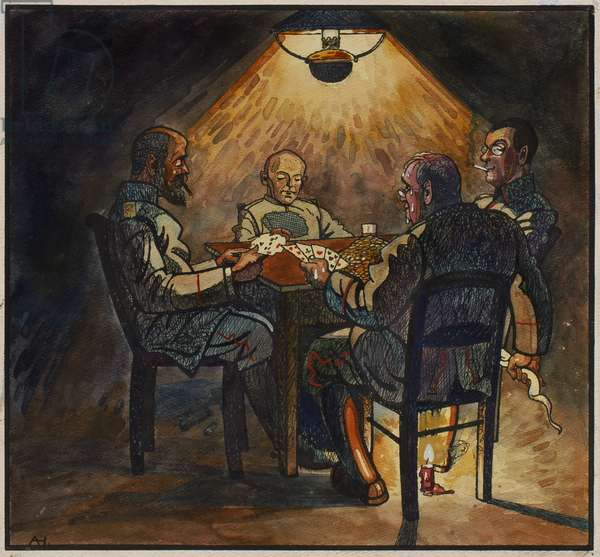 Leibfried, Lieutenant Kamm and Major von Borowsky playing cards with Basil, c.1914-16 (ink & w/c on paper)