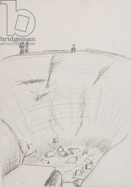 'Lodged in a pit, used blankets for a tent', 1945 (pencil on paper)