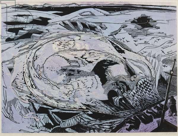 Ring net fishers, 1955 (linocut)