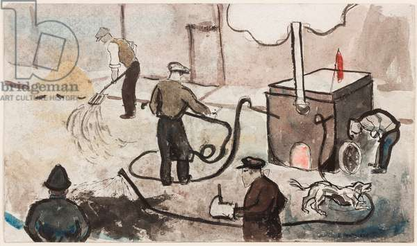 London: East End street works, c.1935 (ink & w/c on paper)