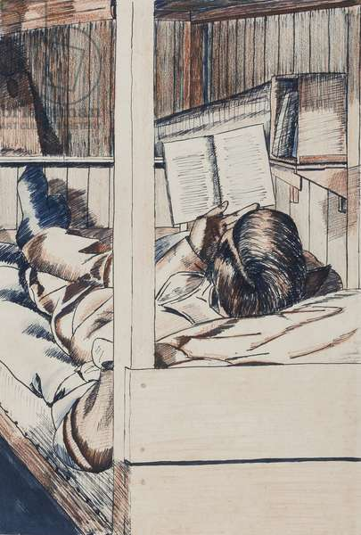 'Reading in Bunk, Sub-Lieutenant F.E.M. Arkel (sic)', Marlag O, Westertimke, Lower Saxony, 17 June 1944 (ink & crayon on paper)