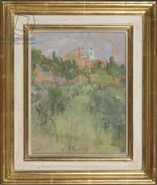 Distant Pienza, 1992 (oil on card)