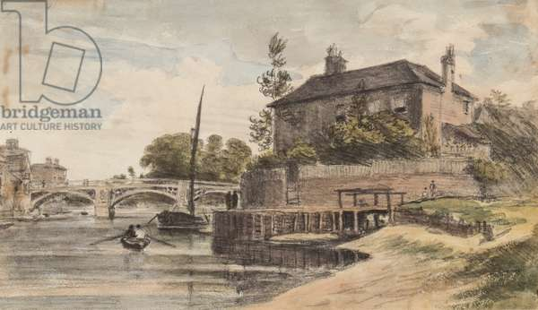 Berkshire: Windsor Bridge from the meadow going to Clewer, Mr Collins' House, Young Cramer and Blagsom in the boat, 18 July 1832 (pencil & w/c on paper)