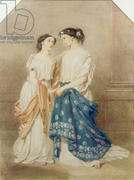 Scene from the 1848 production of 'Antigone' at the St. James Theatre with Mlle. Baptiste as Ismeme and Mme. Pechter as Antigone, 1848 (w/c on paper)