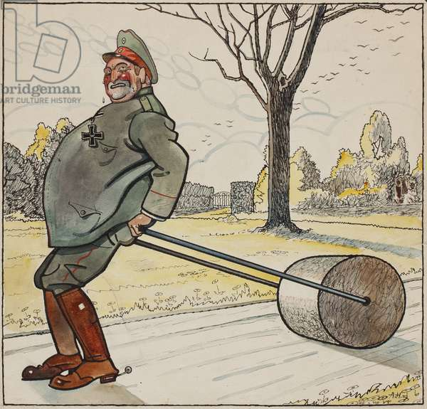 Basil with a garden roller in Lieutenant General von Wundt's Quarters at Courcelette, c.1914-16 (ink & w/c on paper)