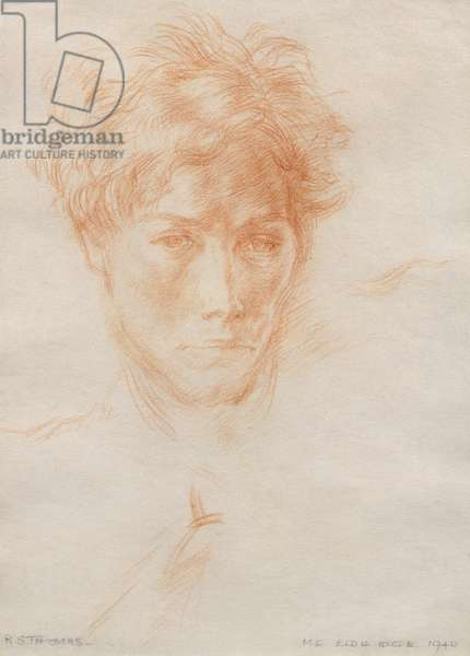 R.S. Thomas, 1940 (red chalk on paper)
