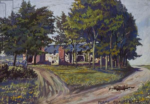 Beauregard Farm, on the Miraumont to Puisieux road, c.1914-16 (gouache on paper)