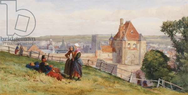 View over Dieppe from the cliffs above the Chateau, c.1865 (w/c & gouache on paper)