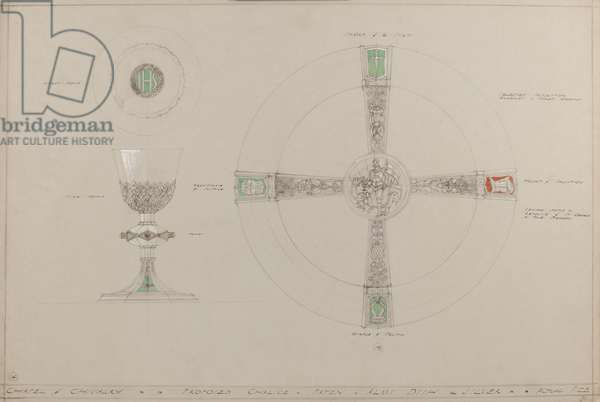 Chapel of Chivalry: proposed chalice, paten and alms dish (pencil, ink, brush, w/c & silver paint on grey card)