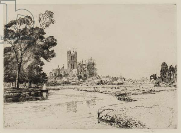 Canterbury from the Meadows, 1930 (etching)