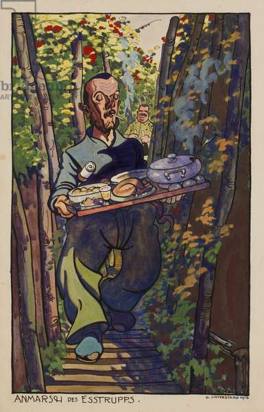 The Arrival of the Catering Corps; Baul Serving a Trench Meal, G Dugout, 1916 (ink, w/c & gouache on paper)