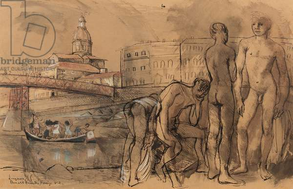 Bathers, the Lungarno, Florence, 1952 (pen, brush, ink & chalk on paper)