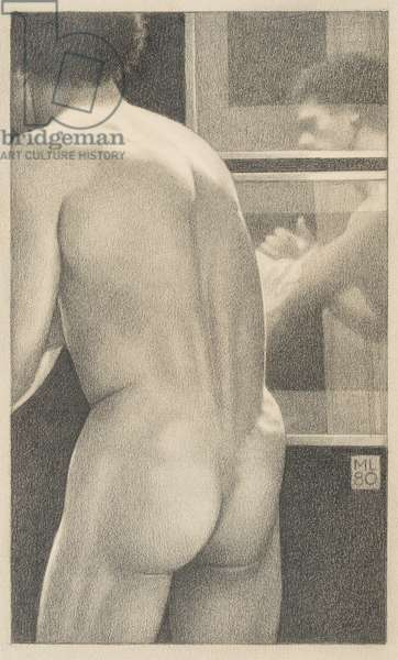 Man's Back and Reflection, 1980 (pencil on paper)