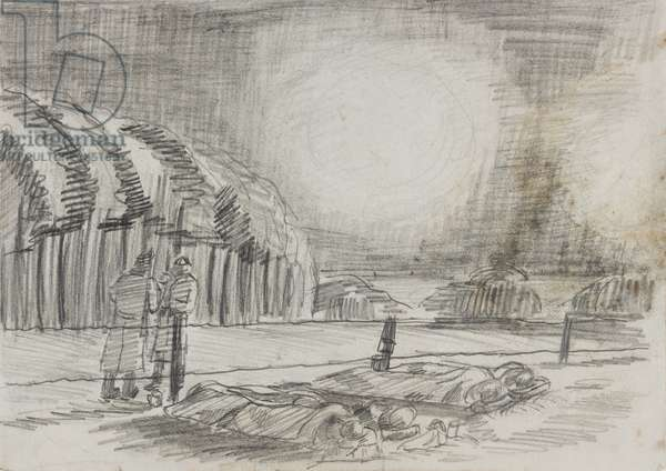 Camping 'in open fields…had flares dropped over us…', 1945 (pencil on paper)