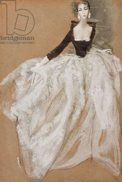 An Evening Dress, c.1960 (pencil, w/c & gouache on tan card)
