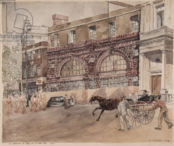 Old Brompton Road Tube Station in Wartime, the Brompton Road Façade, 1940 (ink & w/c on paper)