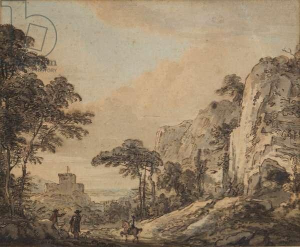 Landscape with horseman (pen, ink, brush & w/c on paper)