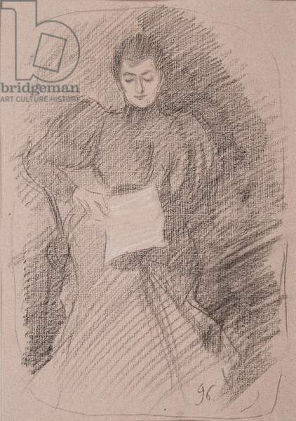 Reading by lamplight, 1896 (charcoal & white chalk on pink paper)