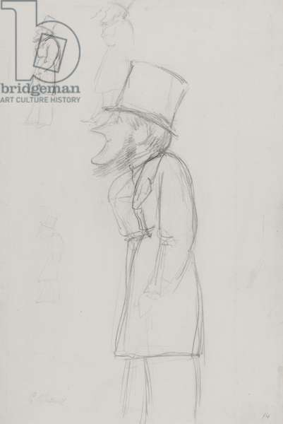 Sketch for a caricature, possibly of G. Russell (pencil on paper)