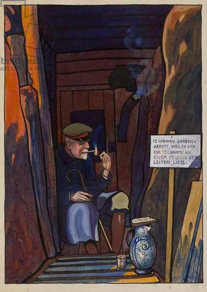 Lieutenant General von Wundt under 12 week trench arrest, between Ovillers and Beaumont Hamel, c.1914-16 (ink & w/c on paper)